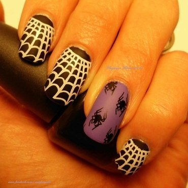 Spooky Spiderwebs nail art by Angelique Adams