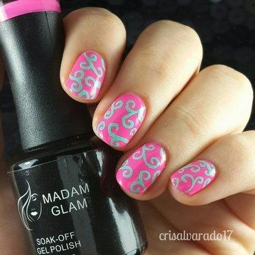Aqua filigree nail art by Cristina Alvarado