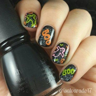 Boo Halloween nail art by Cristina Alvarado