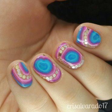 Agate stone nail art by Cristina Alvarado