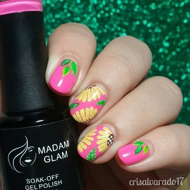 Sunflowers nail art by Cristina Alvarado