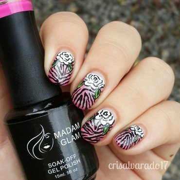 White roses and zebra print nail art by Cristina Alvarado