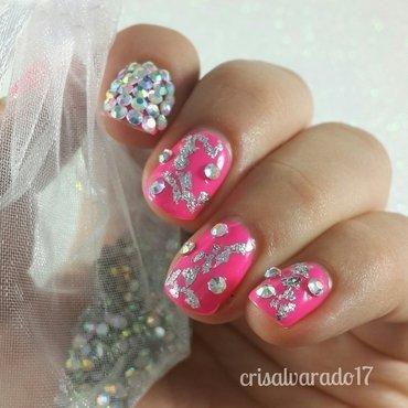 Bling and pink! nail art by Cristina Alvarado