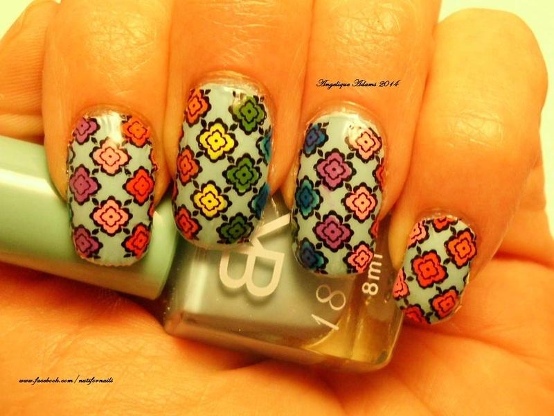 Rainbow Diamonds  nail art by Angelique Adams