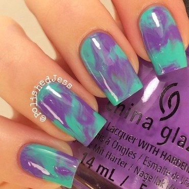 Purple and Blue Marble nail art by PolishedJess