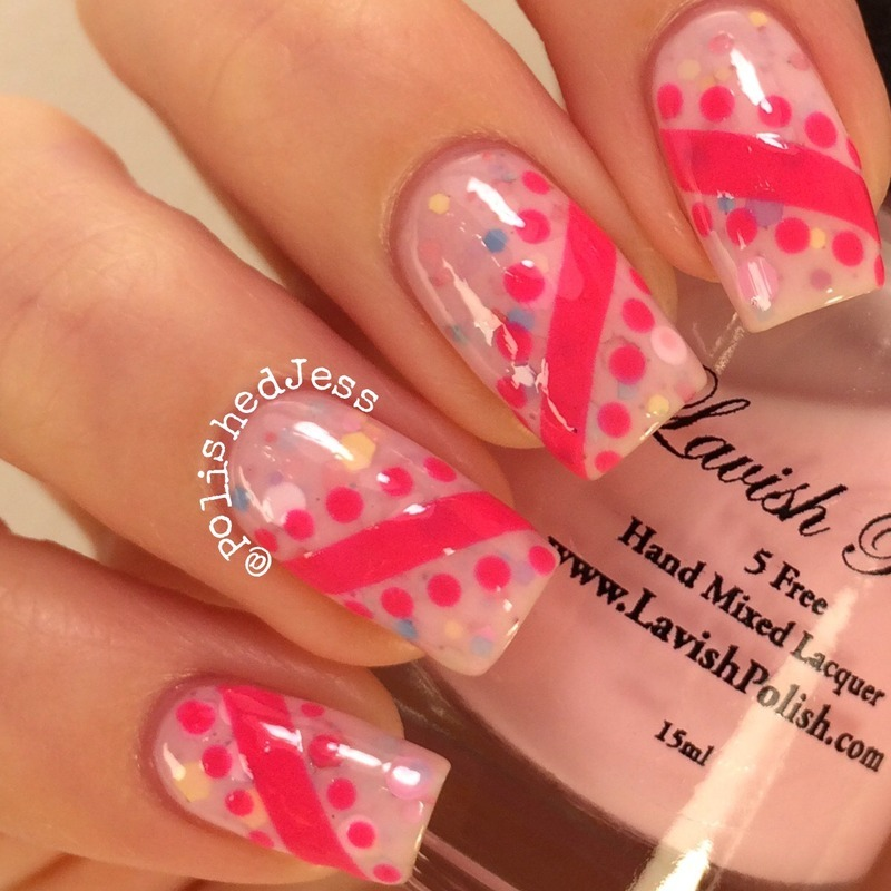 Jelly Sandwich Stripes and Spots  nail art by PolishedJess
