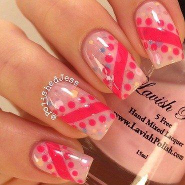 Jelly Sandwich Stripes and Spots  nail art by PolishedJess