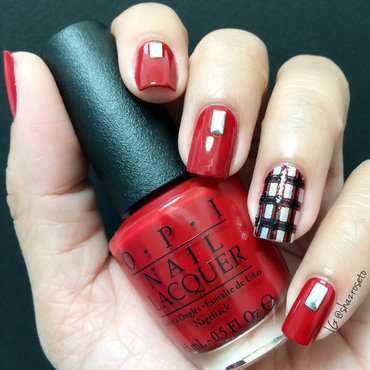 Gingham Bloody Red nail art by Shaz d'Nail Artizan
