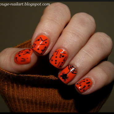 Hlloween Spider nail art by RedRouge