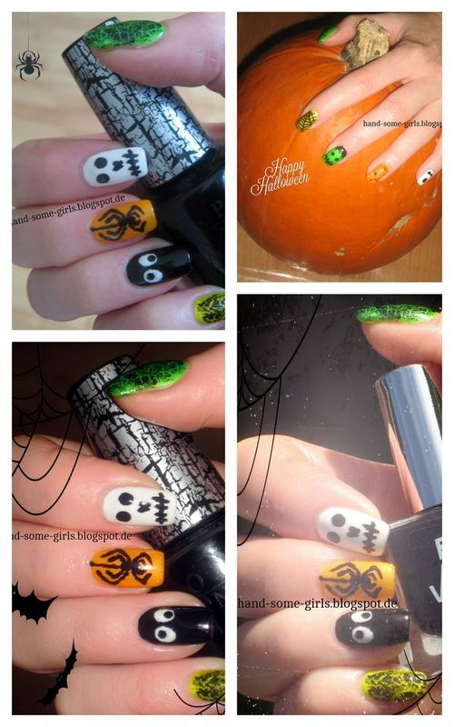 Halloween Mani nail art by greeench