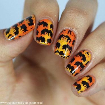 Elephant Stamping nail art by Vicky Standage