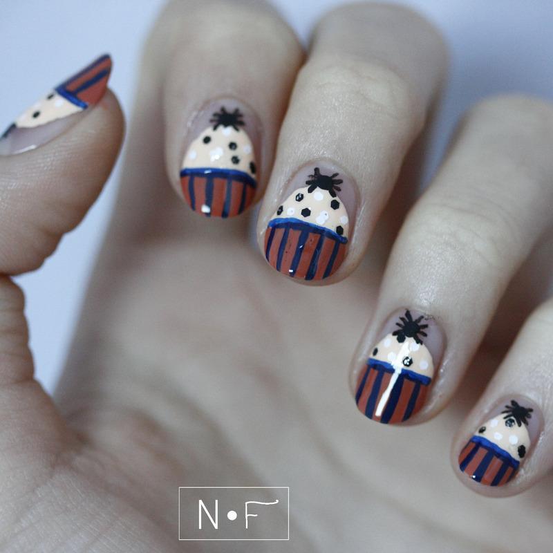 Creepy cupcakes nail art by NerdyFleurty
