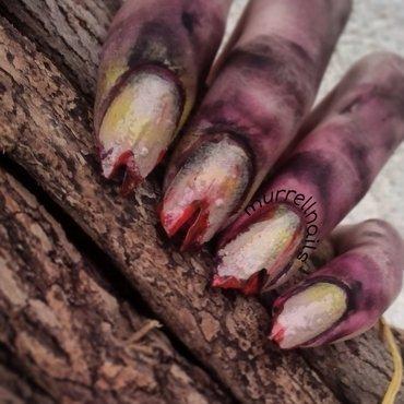 zombie halloween nails nail art by Jessica Shepherd
