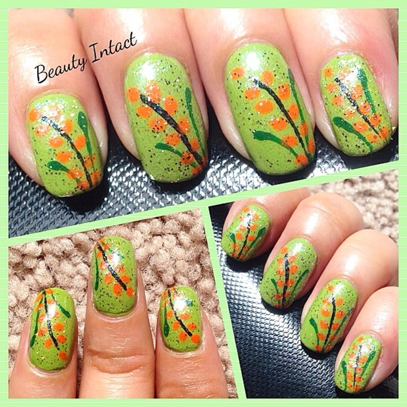 Green Creme nail art by Beauty Intact