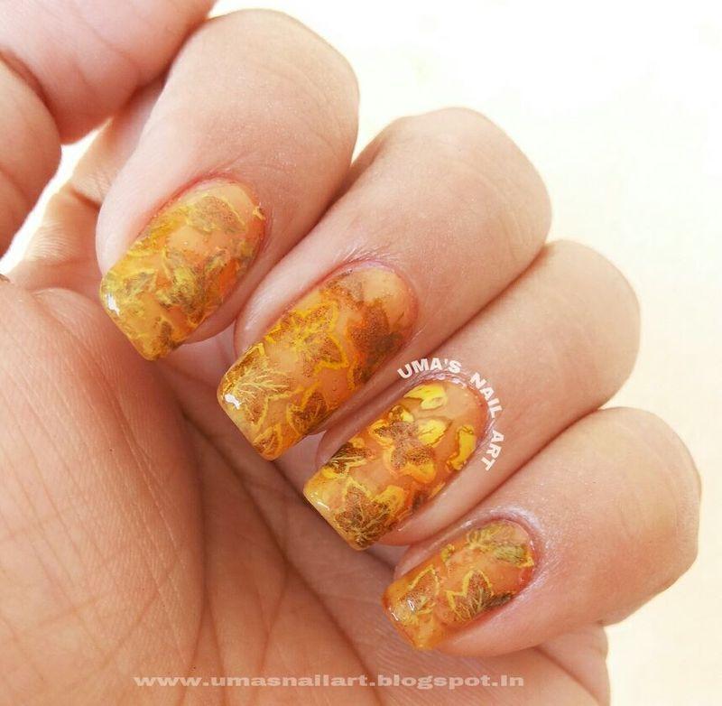 Fall nail art by Uma mathur