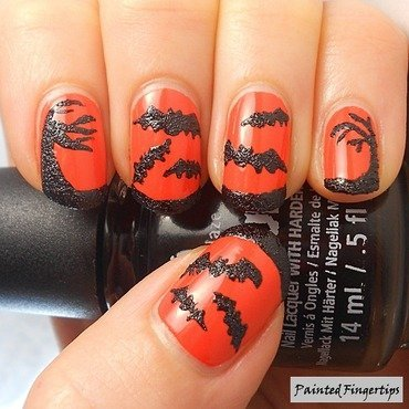 Halloween bats and trees nail art by Kerry_Fingertips