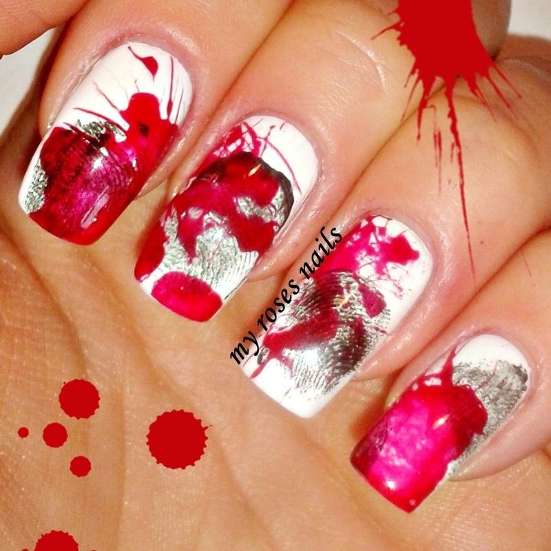 Crime Scene - Halloween nail art by Ewa