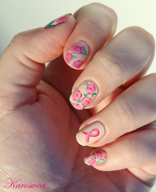 Rose for october nail art by Karosweet