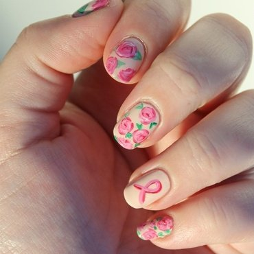 Rose for october nail art by Karosweet