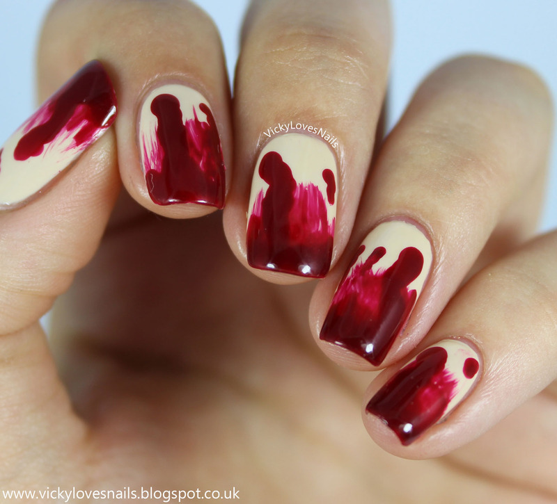 Blood Drips nail art by Vicky Standage