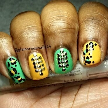Leopard Print & Studs nail art by glamorousnails23