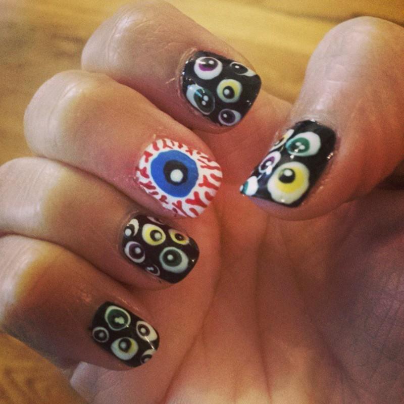 Eyeballs nail art by Marisa