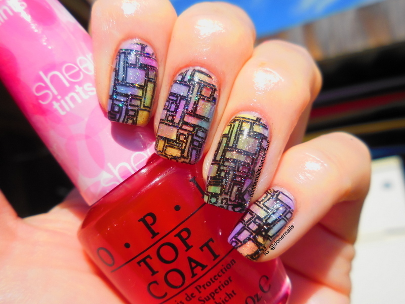 Stained Glass nail art by Donner