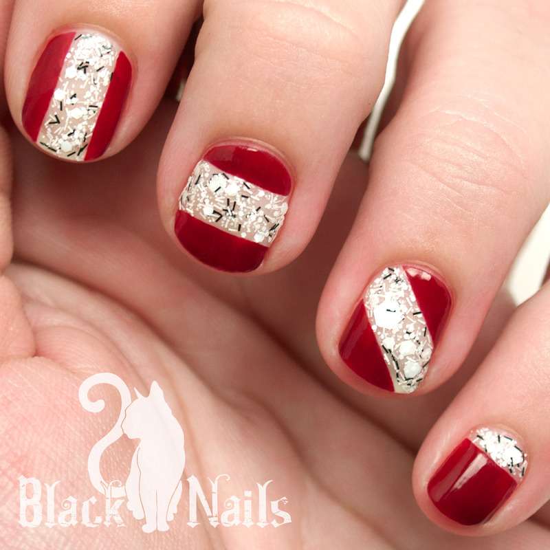 Maroon and Geometric White Glitter Nail Design nail art by Black Cat ...