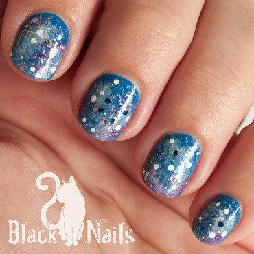 Blue Glitter Galaxy Design nail art by Black Cat Nails