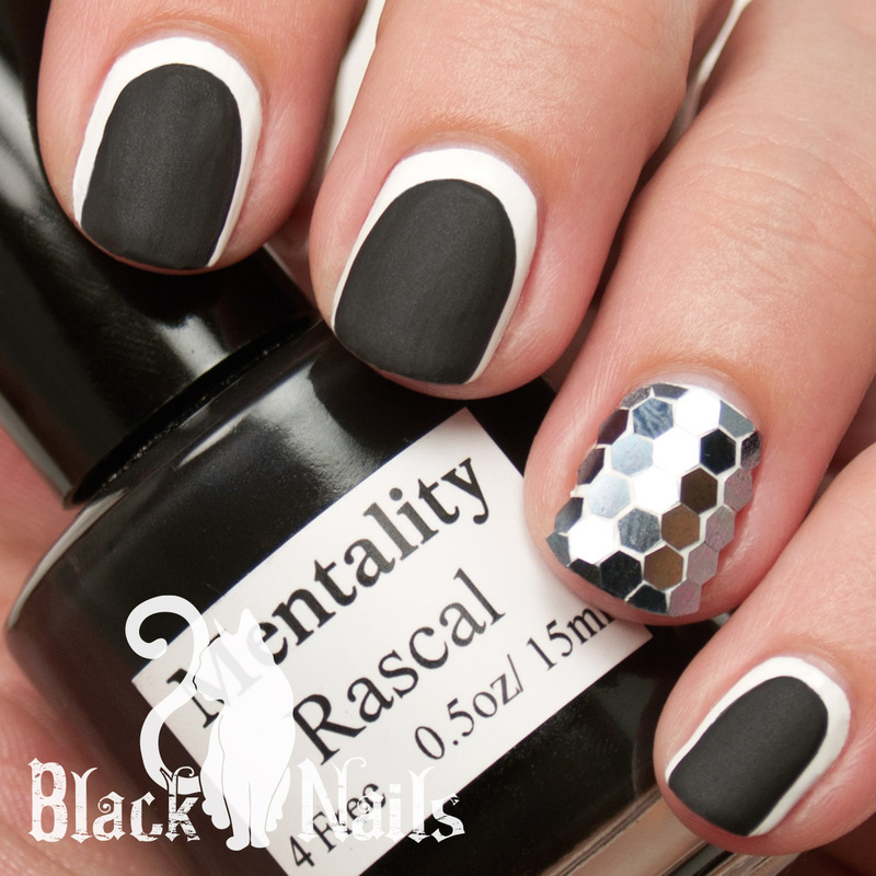 Black and White Glitter Placement nail art by Black Cat Nails ...