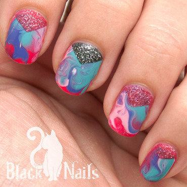 Bright dry marble triangle moon nail art ig thumb370f