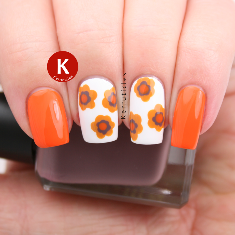 1970s wallpaper-inspired flowers nail art by Claire Kerr