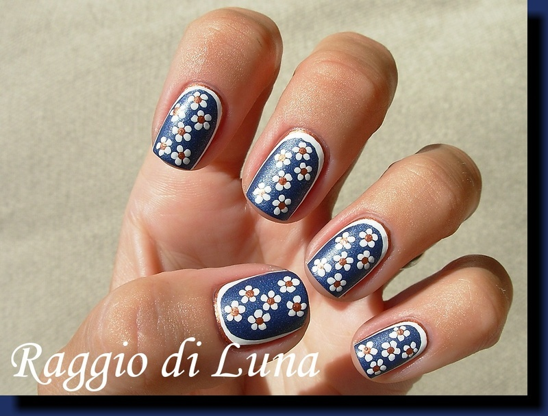 Ruffian manicure with flowers nail art by Tanja