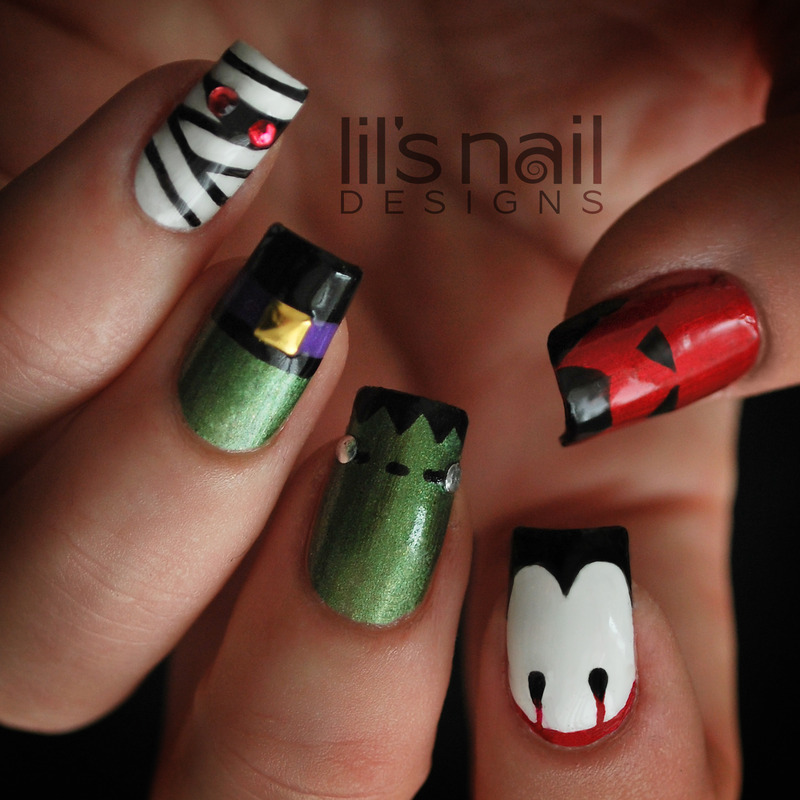Trick or Treat nail art by Lily-Jane Verezen