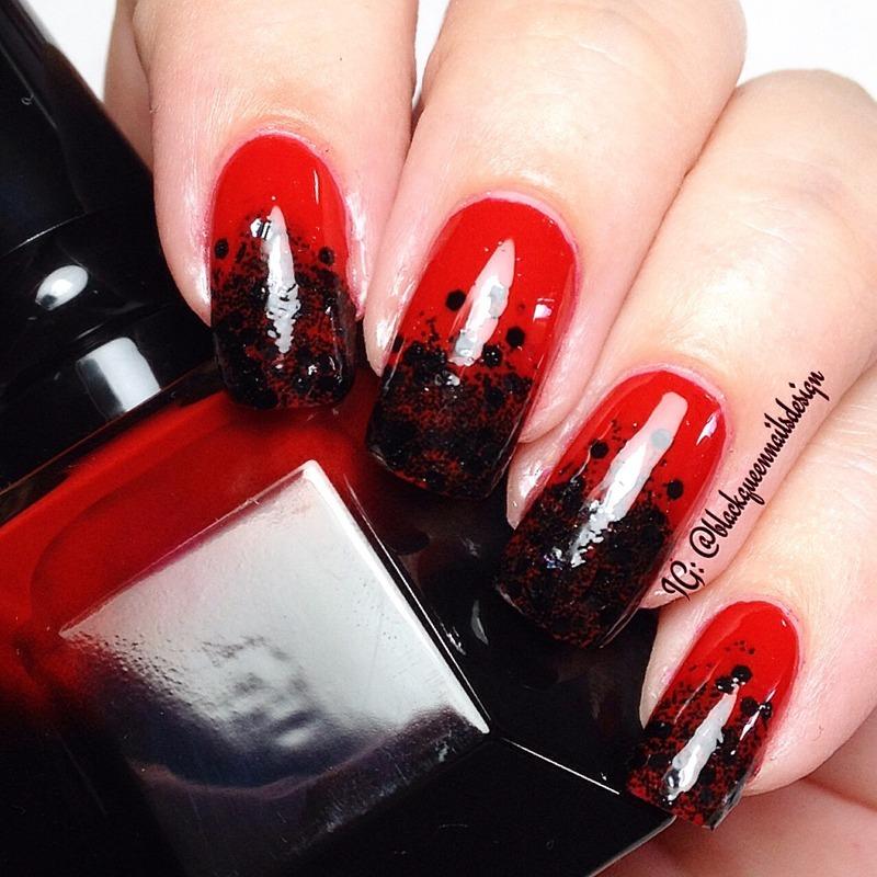 Red & Black Nails nail art by Blackqueennailsdesign