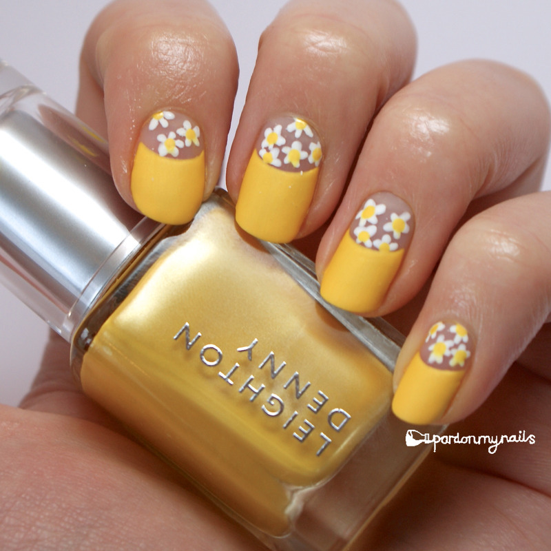 Yellow Daisy Half Moon Mani Nail Art By Pardon My Nails Nailpolis