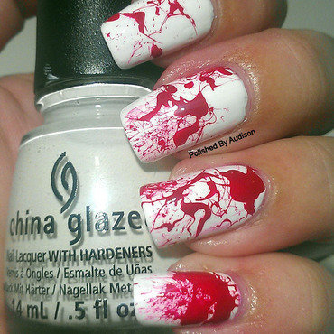 Halloween Blood Splatter Nails nail art by Ashley Hoopes