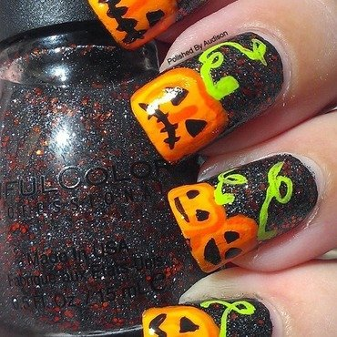 Halloween Pumpkin Nail Art nail art by Ashley Hoopes