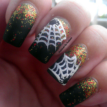 Spider Web Nail Art nail art by Ashley Hoopes