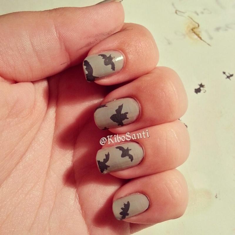 October challenge day 22 Bats nail art by KiboSanti