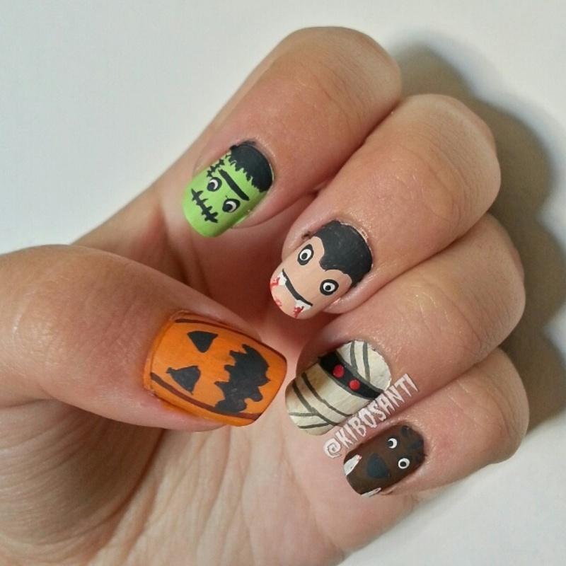 October challenge day 23 Monsters  nail art by KiboSanti