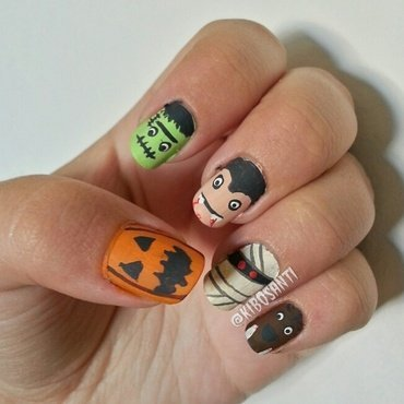 October challenge day 23 Monsters  nail art by KiboSanti