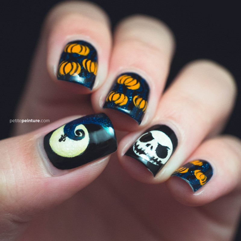 Nightmare Before Christmas nail art by Petite Peinture - Nailpolis ...