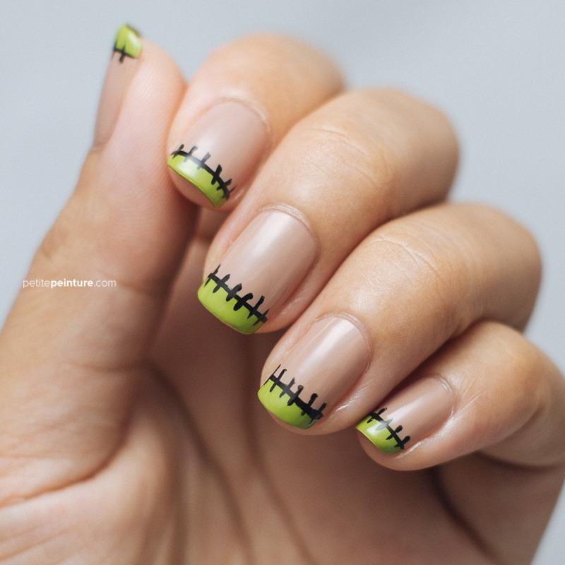 Frankenstein Stitches. Frankenstein Stitches nail art ... - Frankenstein Stitches Nail Art By Petite Peinture - Nailpolis