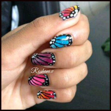 butterfly nails  nail art by roshani98