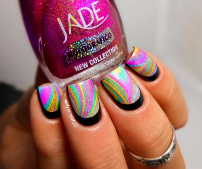 water marble rainbow and ruffian nail art by melyne nailart