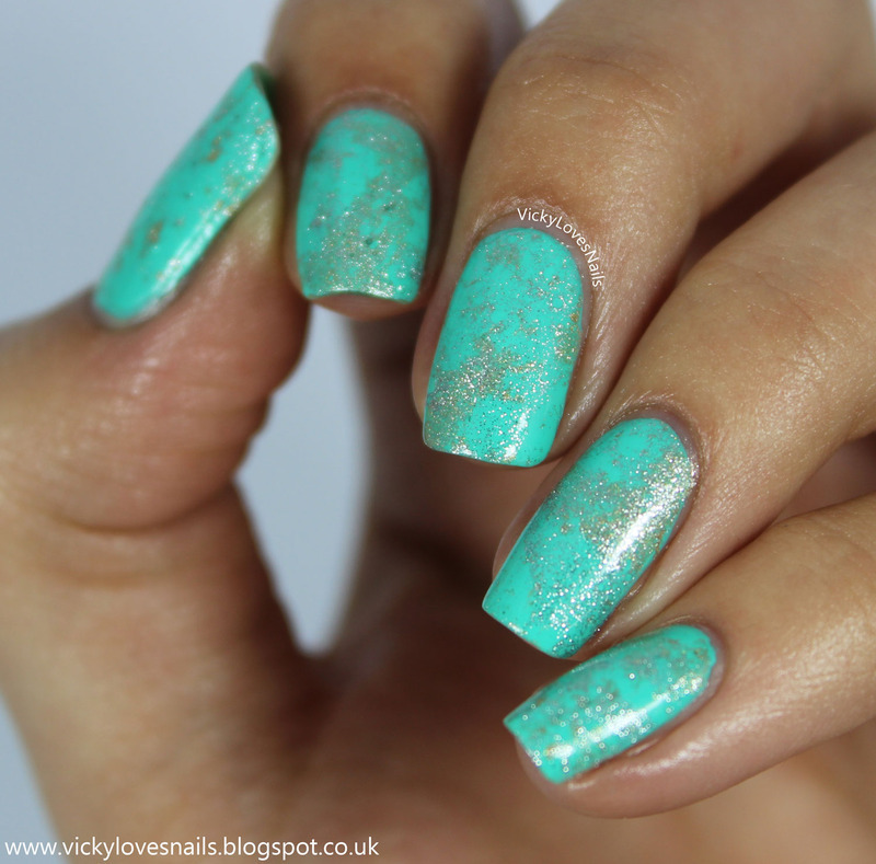 Teal, Gold and Silver Waterspotted Nail Art nail art by Vicky Standage