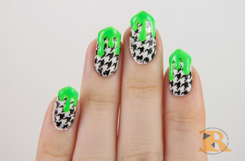 Haunted Houndstooth nail art by Robin