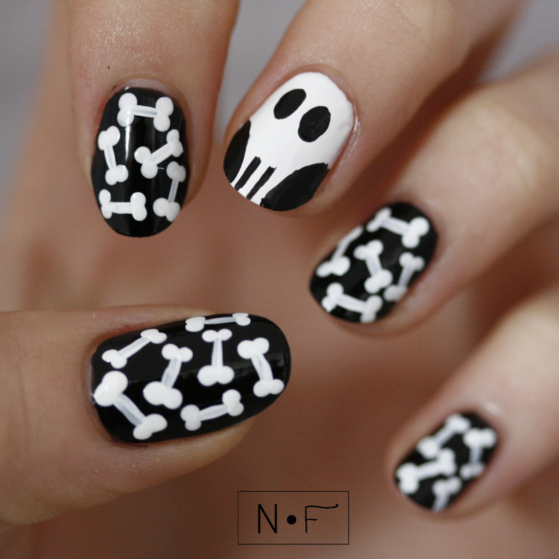 Skull and bones nail art by NerdyFleurty