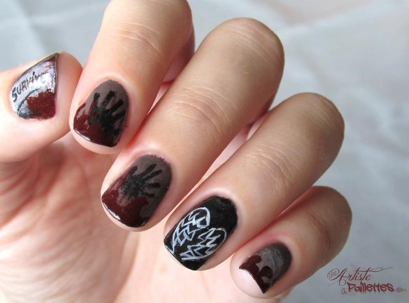 The Walking Dead nail art by Estelle Heart